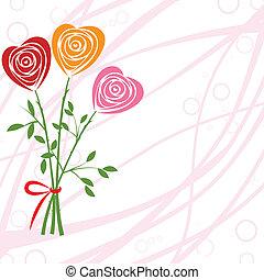 バラ, 花, heart., のように, 背景