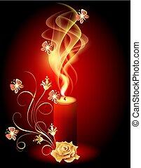 バラ, 蝶, 燃焼, ろうそく