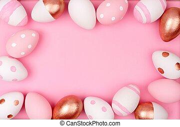 バラ, 金, 白, ピンク, イースター, pink., frame., 卵