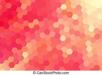 バラ, mosaic., 背景, 六角形, juisy, ベクトル