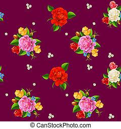 バラ, seamless, パターン