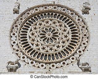バラ, st. 。, umbria., 窓。, francesco, assisi., basilica.