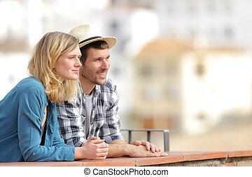 バルコニー, 光景, リラックスした, 観光客, 熟考すること, 観光