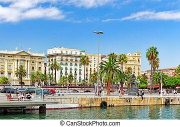 バルセロナ, スペイン, -, 9 月, 03:, 光景, の, ∥, 堤防, の, barce