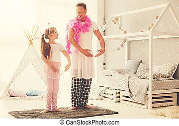 バレエ, 娘, ダンス, ポジティブ, 父, 幸せ