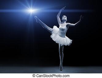 バレエ, 足, 1(人・つ), ダンサー, ポーズを取る, 白, チュチュ