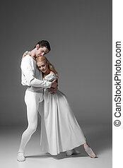バレエ, practicing., ダンサー, ダンス, 若い, 魅力的, 白, 実行者, 2