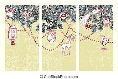 バレリーナ, スケッチ, セット, nutcracker, 3枚続きの絵画, ベクトル, クリスマスカード