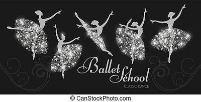 バレリーナ, ダンス, set., クラシック, dance., シルエット, girls.