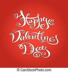 バレンタインデー, 手, 引かれる, レタリング, 背景