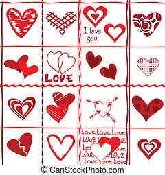 バレンタイン, ペーパー, 包むこと, 日, カード