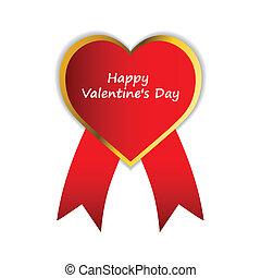 バレンタイン, ラベル, ベクトル, リボン, 日, 赤, 幸せ