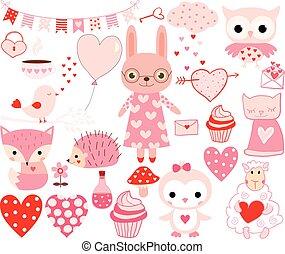 バレンタイン, 動物, そして, 要素を設計しなさい, 中に, ピンクと赤
