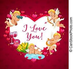 バレンタイン, 天使, 幸せ, 日, キューピッド, 心, フレーム