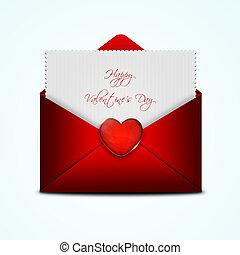 バレンタイン, 封筒, カード, 赤