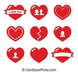 バレンタイン, 心, セット, 愛, アイコン