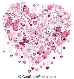バレンタイン, 心, 大きい, ピンク