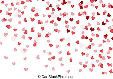 バレンタイン, 心, 紙ふぶき, 背景, 日