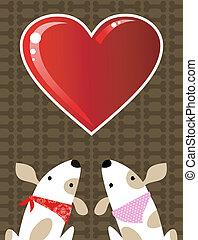 バレンタイン, 愛, 犬, 背景