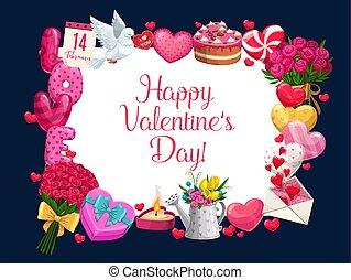 バレンタイン, 挨拶, 日, 愛 中心, フレーム, 花