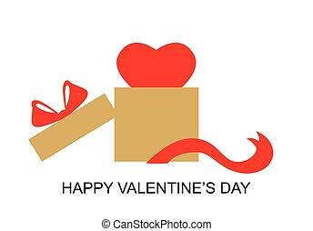 バレンタイン, 贈り物, 日, 箱, 心, カード