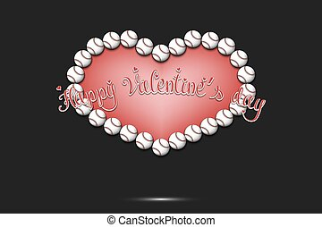 バレンタイン, 野球, 幸せ, 心, ボール, 作られた, day.