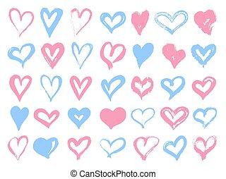 バレンタイン, 青, hearts., day., 背景, 要素, shapes., 隔離された, ベクトル, セット, 白, グランジ, 心, デザイン, 大きい, イラスト, ピンク