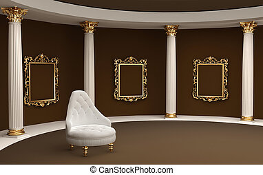バロック式, フレーム, 上に, 壁, ギャラリー, 博物館, そして, 肘掛け椅子