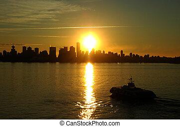 バンクーバー, 日没, 海のバス