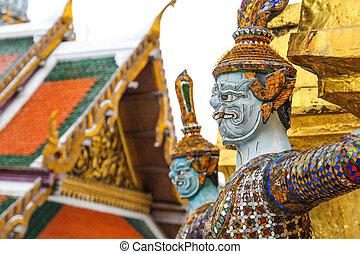 バンコク, 保護者, phra, 悪魔, 仏, エメラルド, タイ, ワット, kaew, 寺院