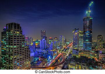 バンコク, 都市, 夜, 光景