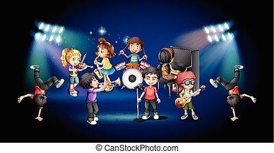 バンド, ステージ, 遊び, 子供