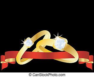 バンド, セット, 金, 結婚式