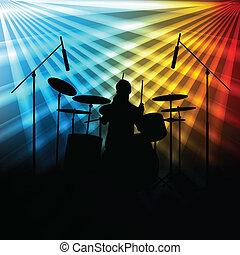 バンド, ネオンライト, ベクトル, 背景, 岩