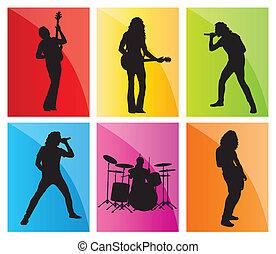バンド, ベクトル, セット, 背景, 音楽