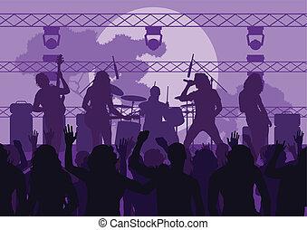 バンド, ベクトル, 背景, 岩