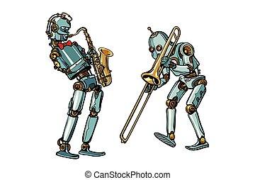 バンド, 真ちゅう, ロボット, サクソフォーン, トロンボーン, 音楽家