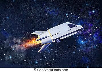 バン, のように, ロケット, パッケージ, 飛行, 速い配達, サービス, 極度