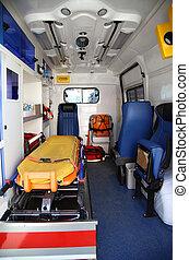 バン, 中, 装置, 部分, 詳細, 救急車, 医学
