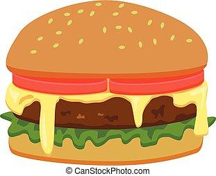 バーガー, ベクトル, チーズが多い