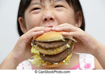 バーガー, 子供, 食べること, 大きい