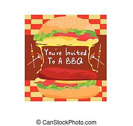 バーガー, 招待, 大きい, bbq 党