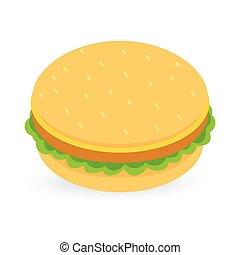 バーガー, 白, 隔離された, 背景