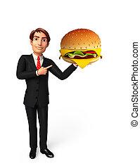 バーガー, 若い, ビジネス男