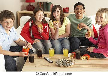 バーガー, 食べること, 子供, グループ, 家