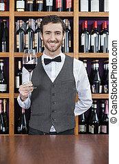 バーテンダー, カウンター, ガラス, 保有物, 赤ワイン