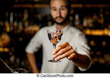 バーテンダー, 手掛かり, ひげ, アルコール, ガラス