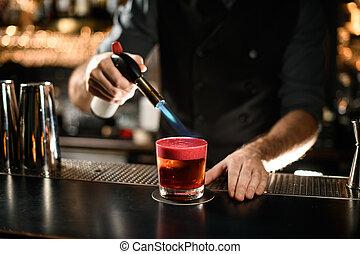 バーテンダー, 燃焼, 飲みなさい, クローズアップ, アルコール, バーナー