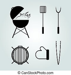 バーベキュー, セット, 道具, アイコン