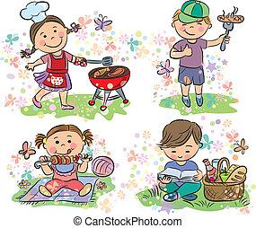 バーベキュー, 子供, ピクニック